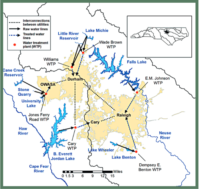Triangle water map
