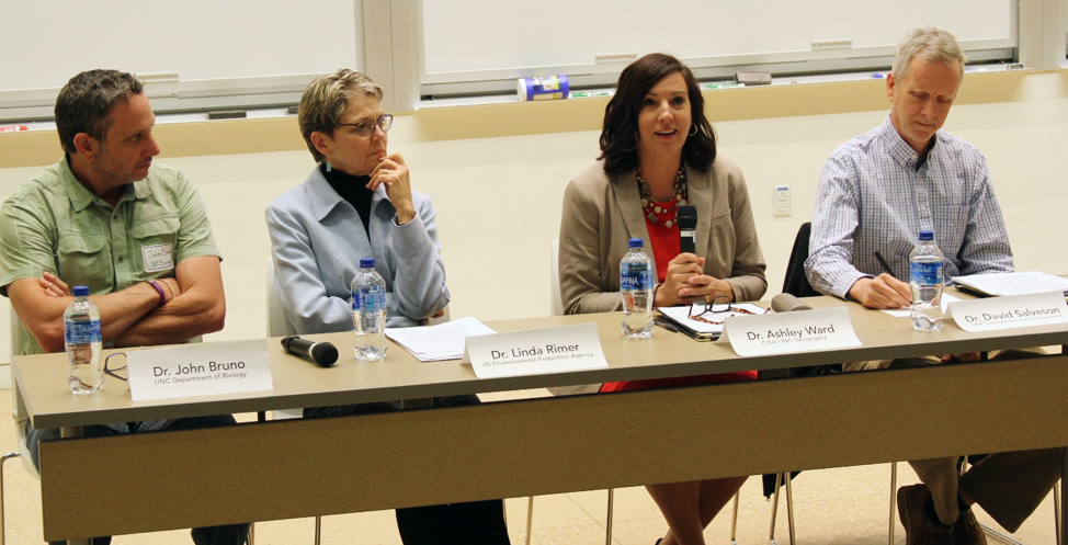 The panelists on the Climate Change Communication panel were (from left to right) Dr. John Bruno, Dr. Linda Rimer, Dr. Ashley Ward, and Dr. David Salvesen.
