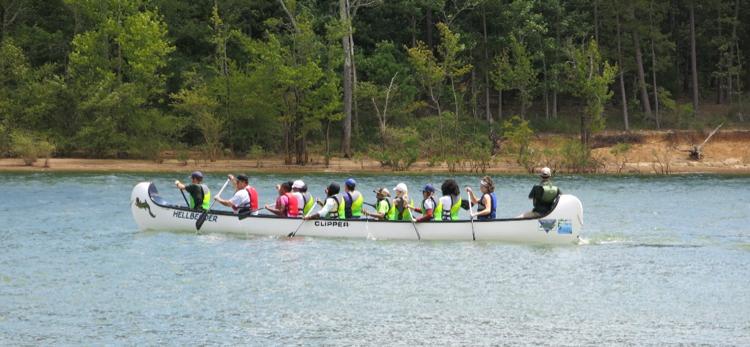 Teachers using the Big Canoes at Kerr Lake State Recreation Area. Photo Credit: Lauren Greene
