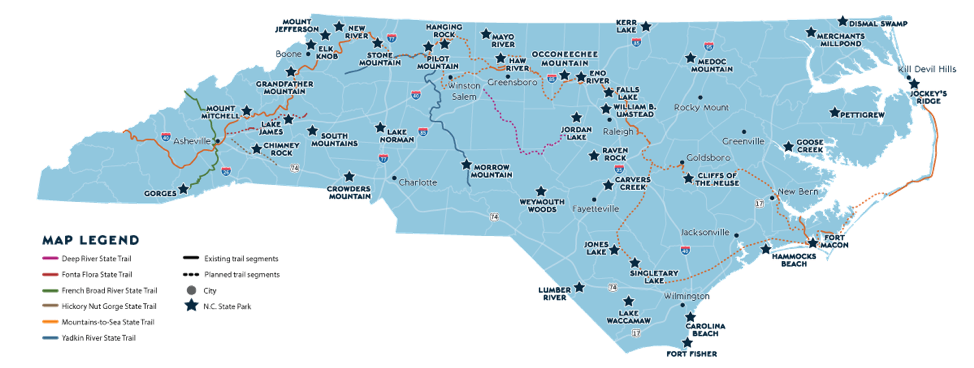 Map of North Carolina State Parks (2019)