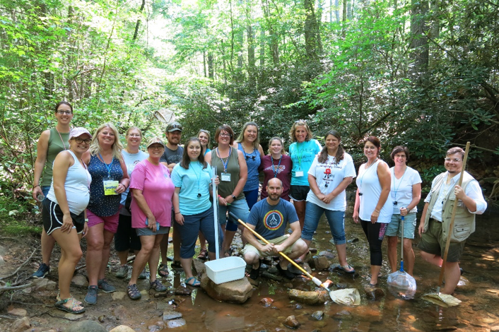 Teachers looking for macroinvertebrates at Lake James State Park. Photo Credit: Lauren Greene