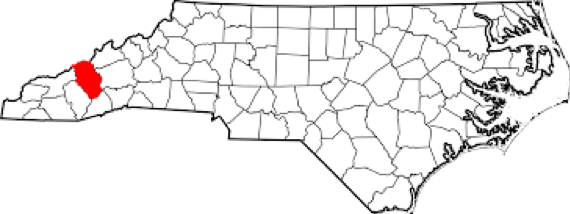 Haywood County highlighted in red