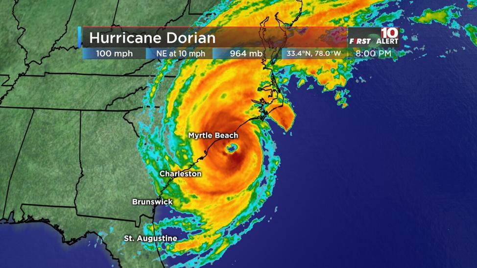 Image of Hurricane Dorian over North Carolina from WISTV.com
