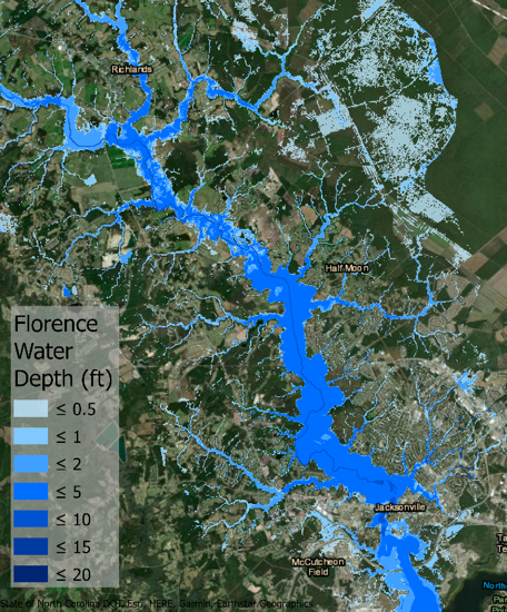 Modeled inundation during Hurricane Florence in the New River Watershed near Jacksonville, NC